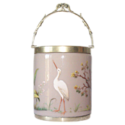 Rare Moser Opaline Biscuit Barrel with Raised Enamel Figural Wildlife Decorations