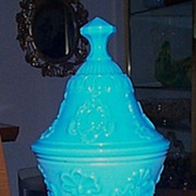 SOLD Blue Opaline Covered Dish - 12 Inches Tall - French Maker - Hard to find to Scarce