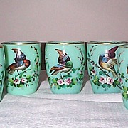SOLD Opaline Punch Cups with Raised Enameled Decorations of Birds