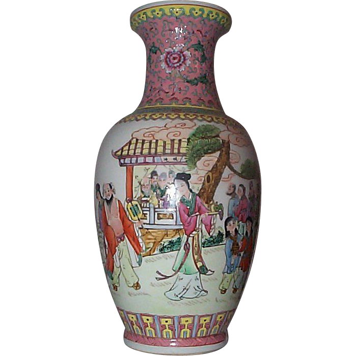 Tall 15 Inches High Jiangxi  Jingdezhen Famille Rose Vase with Immortals