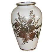 Tall Opaline Vase with Sterling Overlay Decorations of Flowers