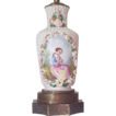 Porcelain Lamp with Hand Painted Figure of Young Lady Holding Dove In her Hand - High Relief Porcelain Flower Decorations