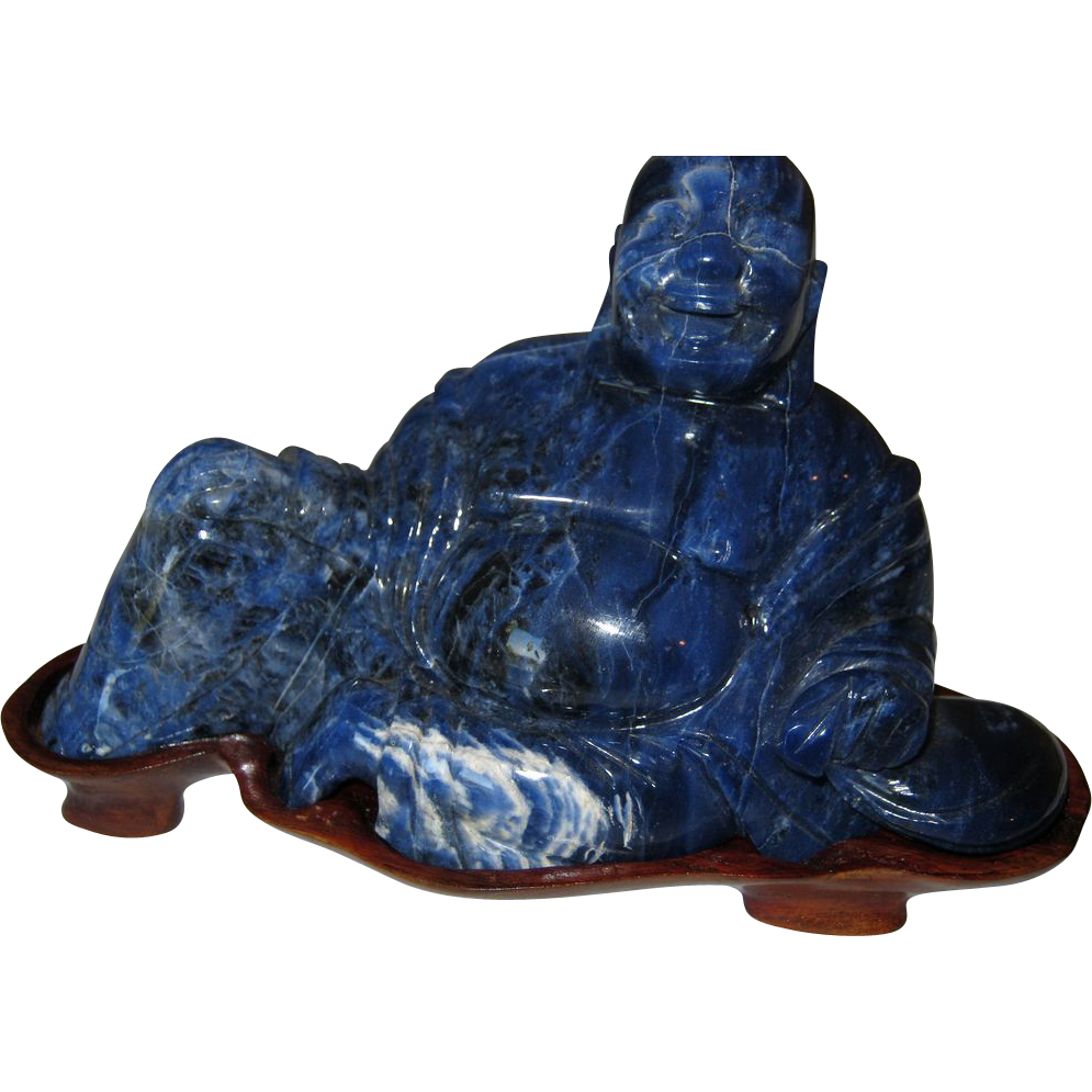 Lapis Lazuli Laughing Buddha with White speckle Calcite