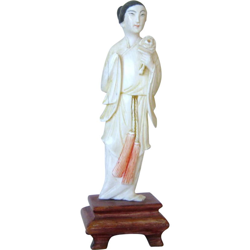 Carved Chinese Ox Bone Figurine of Guanyin