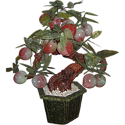 Chinese Hardstone & Jade Plum or Peach Tree Planter- Unusual