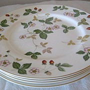 SOLD Four (4) Wedgwood Wild Strawberry Dinner Plates