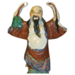 Rare Late Qing Polychrome Porcelain Statue of Zhongli Quan - One of the 8th Immortals - Signed China/Hand Molded