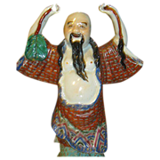 Rare Late Qing Polychrome Porcelain Statue of Zhongli Quan - One of the 8th Immortals - Signed