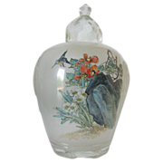 Peking Glass Covered Jar With Hand Painted Scenery