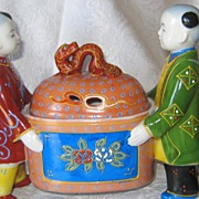 Chinese Incense Burner - Two Children carrying Covered Box With Dragon