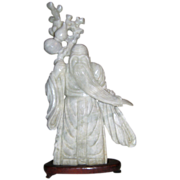 Rare Nephrite Whitish/Gray Jade Statue of an Immortal - God of Longevity - Shao Lao