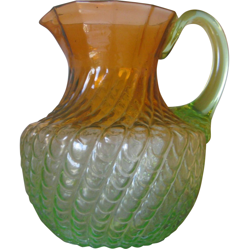 Rare 8&quot;  Water Pitcher - Amberina Shading to Vaseline Glass - Stevens & Williams