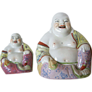 Two Laughing Buddhas - Signed