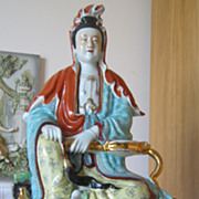 "SOLD 17"" High Painted Porcelain Statue of Guan Yin (Kuan Yin) Signed  -"