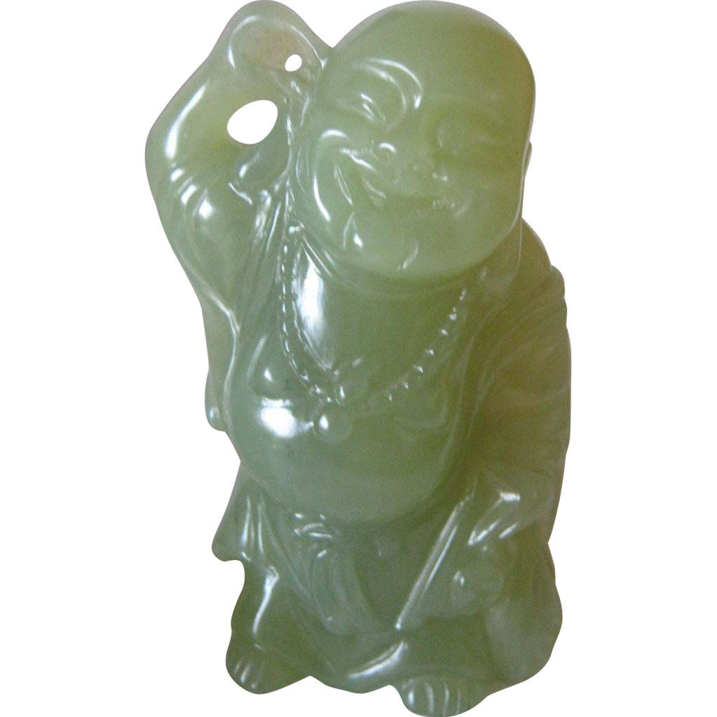 "Carved Jade Standing Buddha - 3 3/4"" High - With Stand 4 3/4"" High"