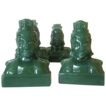 Imperial Jade Green Glass Mandarin Bookends