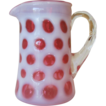 Fenton Cranberry Coin Dot Cream Pitcher - 1940's