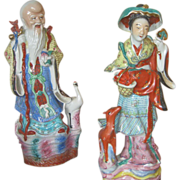 19th Century Hand Molded Statues of the Goddess of Longevity Magu and the God of Immortality  