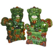 Unique Vintage Majolica Foo Dogs -