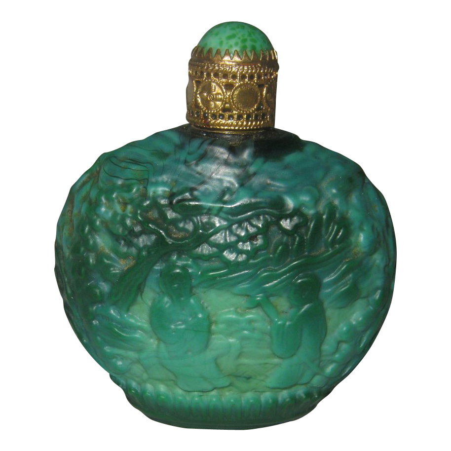 Vintage Green Malachite Purse Size Perfume Bottle - Oriental Scene