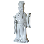 "Blanc de Chine Statue of ""Luk"" - one of the 3 lucky gods - Hand molded"