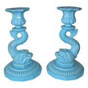 Portieux/Vallerysthal  Blue Opaque Glass Candlesticks
