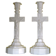 Boston and Sandwich 12 Sided Base Crucifix Candlestick - Opal