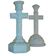 Two Opal Candlesticks - One With Rock Like Base, and One in light blue opal