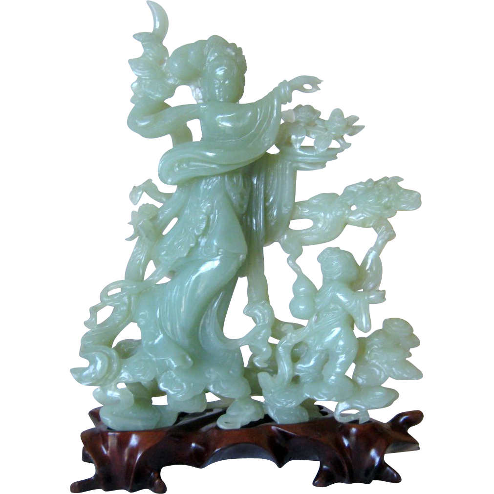 Stunning Chinese Jade Statue of Guan Yin and One of Her Accolades