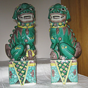 "SOLD 19th Century Famille Verte Foo Dogs Marked ""China"""