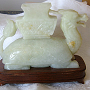 SOLD Chinese Jade Turtle/Dragon Incense Burner on Back of Turtle
