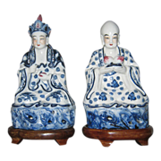 Pair Blue and White Oriental Buddha Statues Possibly Lohan and Kistigarbha Bodhisttava