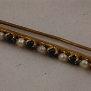 14K Gold Vintage Seed Pearl Light Blue Sapphire Bar Pin