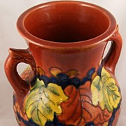 Vintage Red Pottery Vase Grapes Leaves