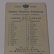 Dance Card French Societe Royale Sapeurs Pompiers Voluntaires 1902