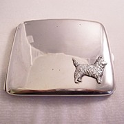 Fantastic Vintage Sterling Silver Cigarette Case with Scotty Scottie Dog