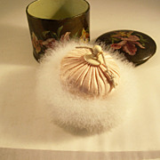 Fantastic Victorian Swan's Down Powder Puff in Papier Mache Box - Irises!