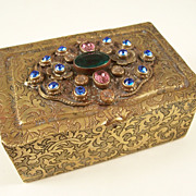 Lovely Deco Czech Jeweled Brass Vanity Trinket Box