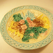 Lovely Antique Majolica Plate - late 19th century - soft palette flowers