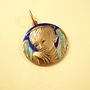 Vintage Sterling Silver & Enamel Charm or Pendant - Male Angel