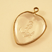 Vintage Navy Sweetheart charm - Glass & Brass - World War I