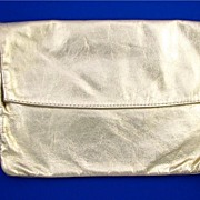 SOLD Vintage Gold Leather Large Clutch Bag