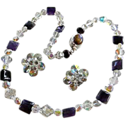 Vintage Aura Borealis Crystal & Amethyst Gemstone Necklace