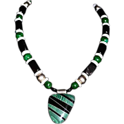 SALE Melange Drama. Mexican Inlaid Artisan Pendant Bead Necklace