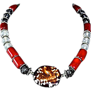 Ancestral Blend 40's Opaque Crystal Beaded Melange Necklace