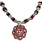 REDUCED Ancestral Carnelian Lampwork Pendant Necklace