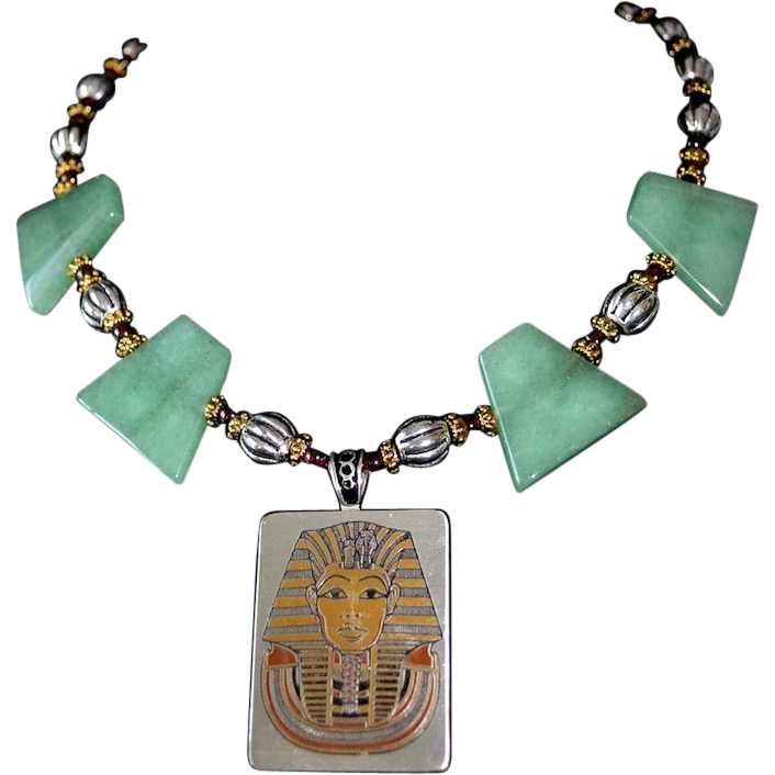 Egyptian Revival Mixed Metals Damascene Pendant Necklace
