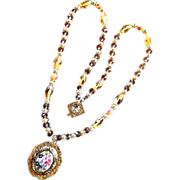 SALE Damascene Victorian Porcelain Rose Crystal Necklace