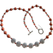 Rustic Modernist Bali Silver Coin and  Glass Bead Necklace