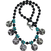 REDUCED Ancestral Art Hematite & Turquoise Disk Coin Necklace